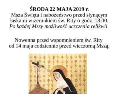 22 maja Uroczystości Ku Czci Św. Rity