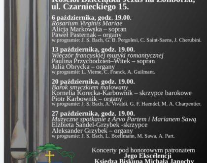 Wieczór muzyki organowej i kameralnej 6/10/13/20 i 27 października godzina 19:00